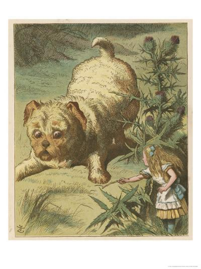Alice and the Puppy-John Tenniel-Giclee Print