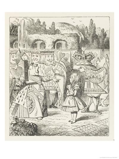 """Alice and the Queen of Hearts """"Off with Her Head!""""-John Tenniel-Giclee Print"""