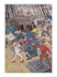 Fight Breaks out on Board the Pirate Ship by Alice B^ Woodward