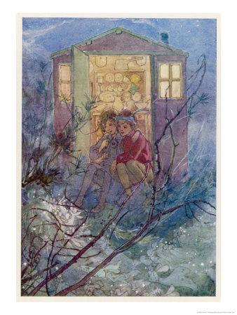 Peter Pan and Wendy Sit on the Doorstep of the Wendy House