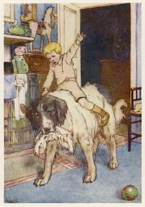 Peter Pan, Michael Rides on the Back of the Dog Nana by Alice B. Woodward