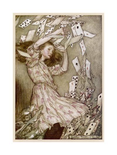 Alice: Cards Fly Up-Arthur Rackham-Giclee Print