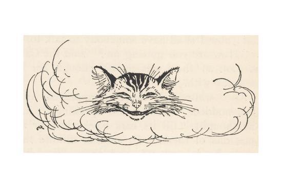 Alice: Cats Head in Cloud-Arthur Rackham-Giclee Print