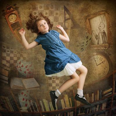 Alice falling down the Rabbit Hole-egal-Photographic Print