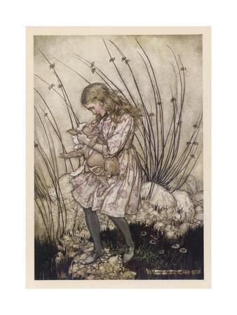 Alice Holds the Baby Pig-Arthur Rackham-Giclee Print