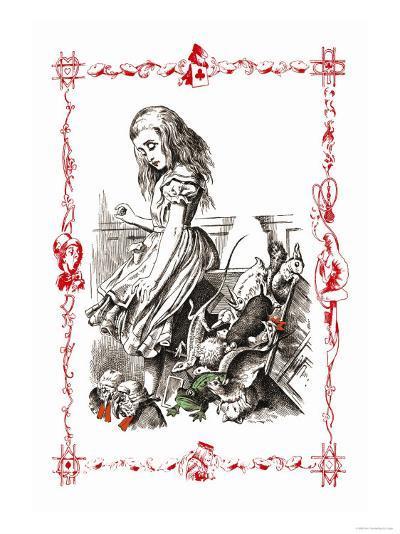 Alice in Wonderland: Alice Tips over the Jury Box-John Tenniel-Art Print