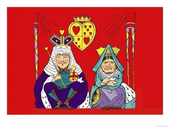 Alice in Wonderland: The King and Queen of Hearts Art Print by John Tenniel  | Art com