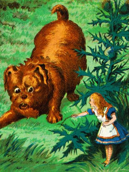 'Alice meets a very large puppy', c1900-Unknown-Giclee Print
