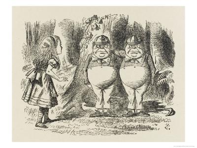Alice Meets Tweedledum and Tweedledee-John Tenniel-Giclee Print