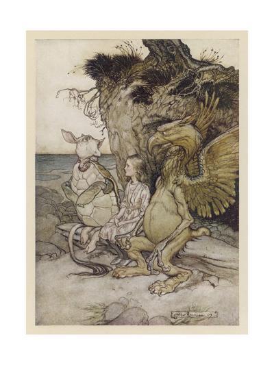 Alice, Mock-Turtle, Grypho-Arthur Rackham-Giclee Print