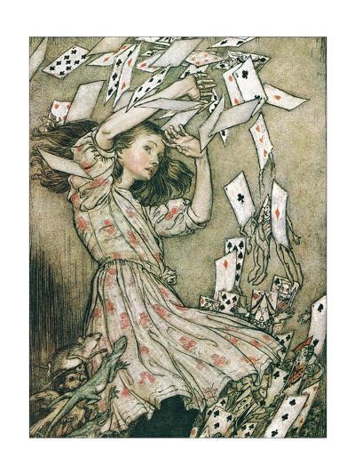 Alice & Pack of Cards-Arthur Rackham-Art Print