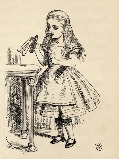 Alice Peering at the Drink Me Bottle, from 'Alice's Adventures in Wonderland' by Lewis Carroll,…-John Tenniel-Giclee Print