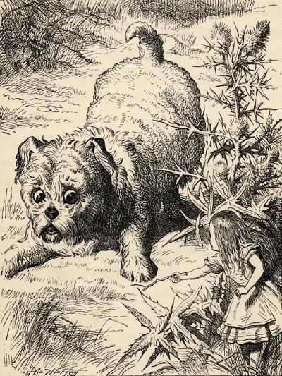 Alice Shrinks and Meets the Puppy, from 'Alice's Adventures in Wonderland' by Lewis Carroll,…-John Tenniel-Giclee Print