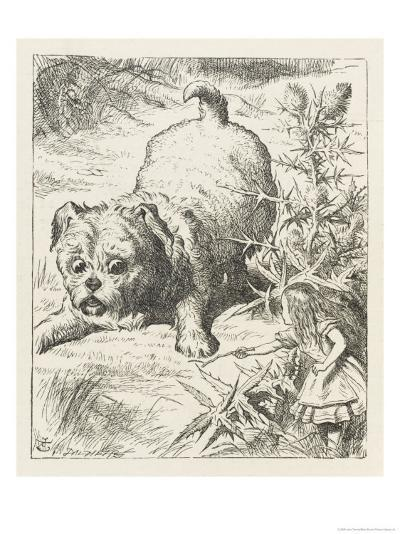 Alice (Shrunk) with the Puppy-John Tenniel-Giclee Print