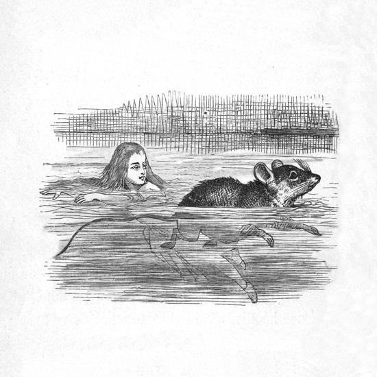 'Alice swimming with a mouse in a pool', 1889-John Tenniel-Giclee Print