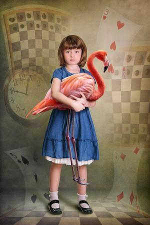 Alice Trying to Play Croquet with Flamingo-egal-Photographic Print