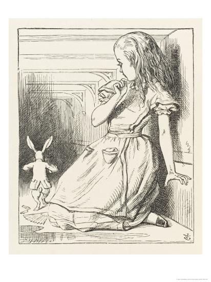 Alice Watches the White Rabbit Disappear Down the Hallway-John Tenniel-Premium Giclee Print