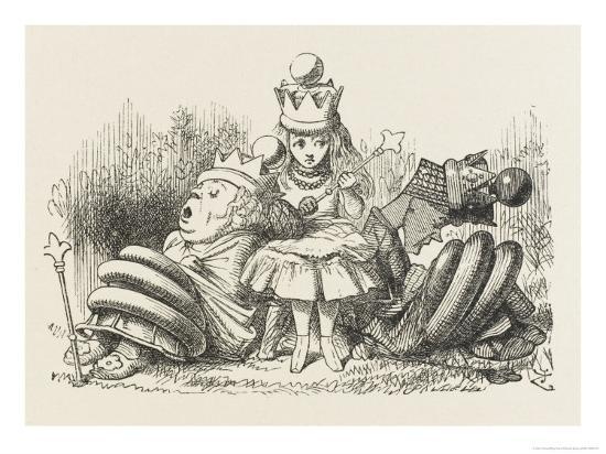 Alice with the Sleeping Queens-John Tenniel-Giclee Print