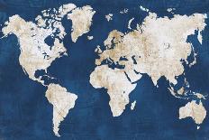 World Map NavyGold-Alicia Vidal-Art Print