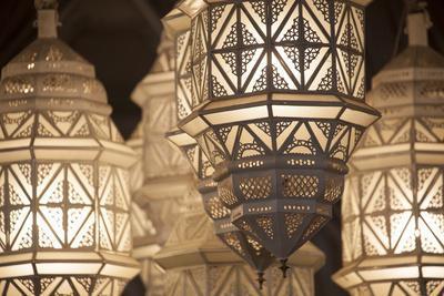 Africa, Morocco, Marrakesh. Close-Up of Ornate Metal Lanterns