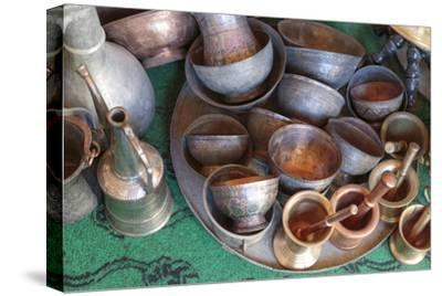 Azerbaijan, Lahic. A Collection of Engraved Copper Cups and Mortars