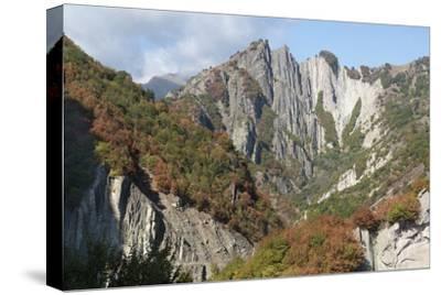 Azerbaijan, Sheki. A Rocky Cliffside Outside of Sheki