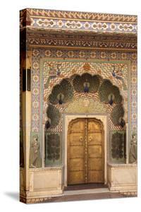 India, Rajasthan, Jaipur, Peacock Door at City Palace by Alida Latham