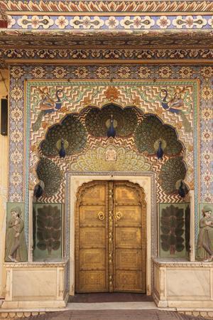 India, Rajasthan, Jaipur, Peacock Door at City Palace
