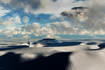 Alien Base with Ufos Located in the Antarctic--Art Print