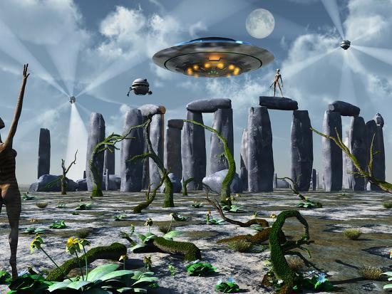 Alien Interdimensional Beings Recharge Their Vehicles at Stonehenge-Stocktrek Images-Photographic Print