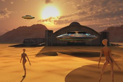 Alien Reptoids and their Flying Saucers at Area 51-Stocktrek Images-Art Print