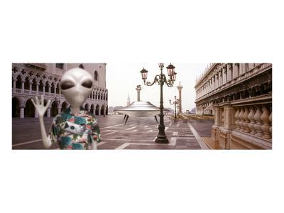 Alien Tourist in Venice-Richard Desmarais-Art Print