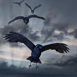 Crows Flying by AlienCat