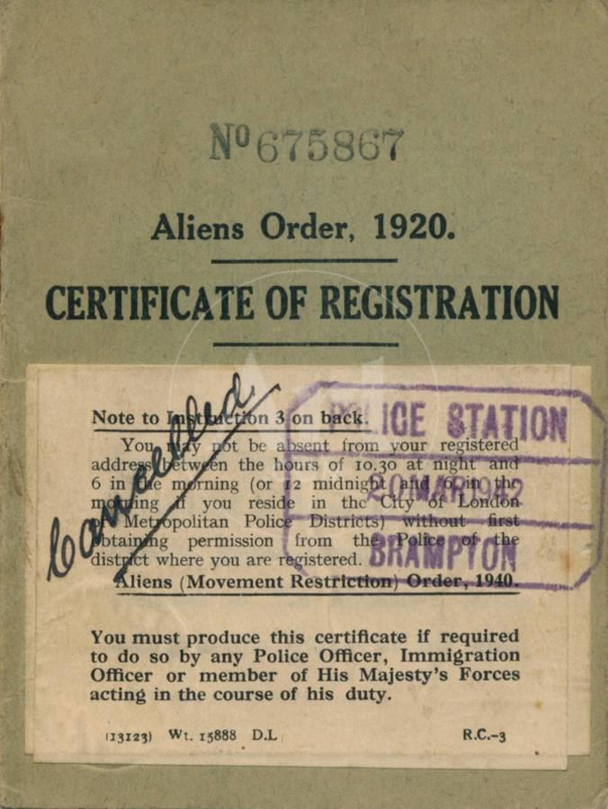 Aliens Order Certificate Of Registration 1920 Giclee Print By