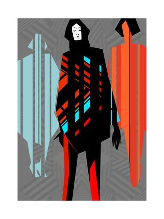 Artistic Fashion Colorful Illustration with Stripes