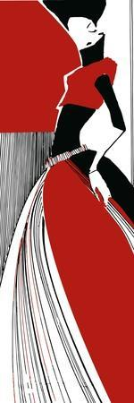 Artistic Fashion Model, Vector Hand Drawn Black Red and White Illustration