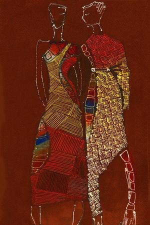 Two Young Models. Hand Drawn Fashionable Artistic Illustration