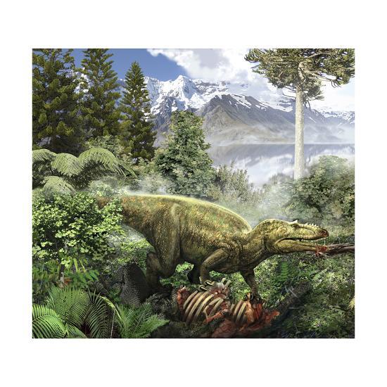 Alioramus Feediing on the Carcass of a Dead Animal-Stocktrek Images-Art Print