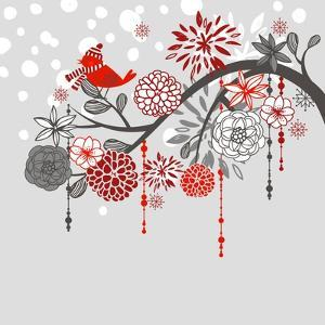 A Winter Branch with a Bird and falling Snow. Red and Grey Colors by Alisa Foytik