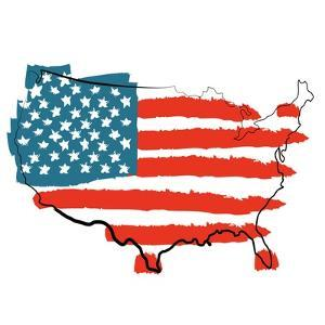Cool USA Map with US Flag by Alisa Foytik