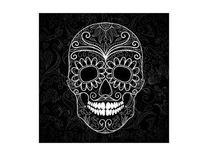 Day Of The Dead Black And White Skull by Alisa Foytik