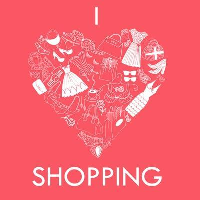 I Love Shopping! A Heart Shape Made of of Different Female Fashion Accessories.