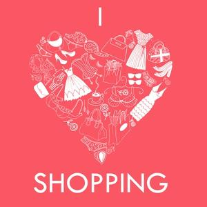 I Love Shopping! A Heart Shape Made of of Different Female Fashion Accessories. by Alisa Foytik