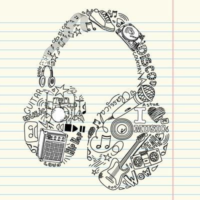 Music Doodles In The Shape Of A Earphones