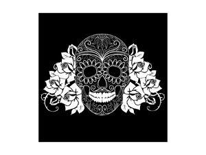 Skull and Roses, Black and White Day of the Dead Card by Alisa Foytik