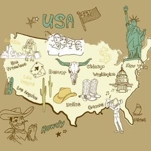 Stylized Map Of America. Things That Different Regions In Usa Are Famous For by Alisa Foytik