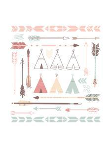 Teepee Tents And Arrows Collection - Hipster Style by Alisa Foytik