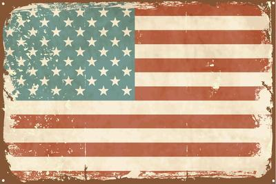 Vintage Style American Flag on the Tin Sign