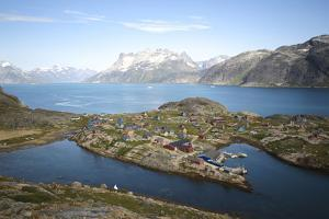 Greenland, Kujalleq, Aappilattoq, View of Village with Scenic Mountains and Water by Aliscia Young