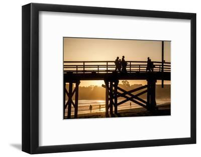 California, Santa Barbara Co, Goleta Beach Co Park, Pier at Sunset